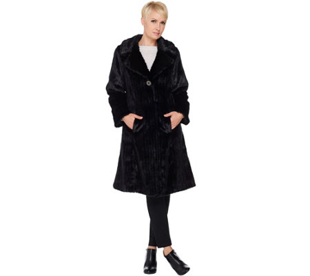 Dennis Basso Platinum Collection Knee Length Faux Mink Coat