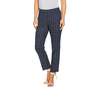 Susan Graver Printed Stretch Woven Slim Leg Ankle Pants - A287697