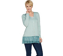 LOGO Layers by Lori Goldstein Button Front Cardigan with Lace Hem - A287997