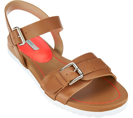 """As Is"" Isaac Mizrahi Live! SOHO Leather Sandals with Neon Detail"