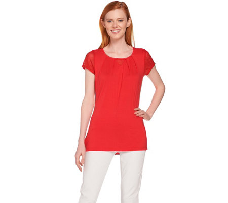 H by Halston Short Sleeve Knit Top with Lace Detail
