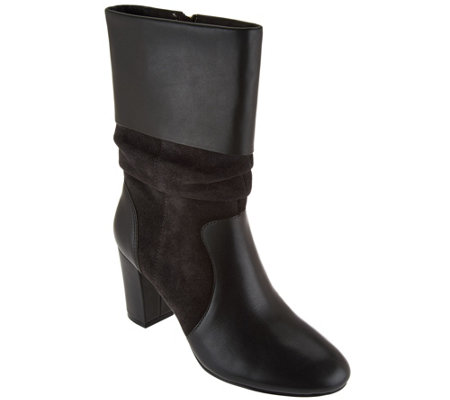 """As Is"" C. Wonder Leather and Suede Mid- Calf Slouch Boots-Amanda"