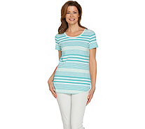 Isaac Mizrahi Live! TRUE DENIM Striped Slub Knit T-shirt - A289597