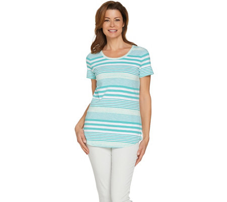 Isaac Mizrahi Live! TRUE DENIM Striped Slub Knit T-shirt