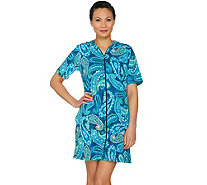 Denim & Co. Beach Floral Print Zip Front Cover Up Dress - A291097