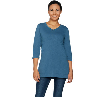 Denim & Co. Essentials 3/4 Sleeve V-Neck Tunic with Side Slits