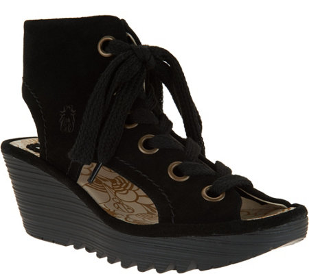 """As Is"" FLY London Suede Lace-up Wedges - Yaba"