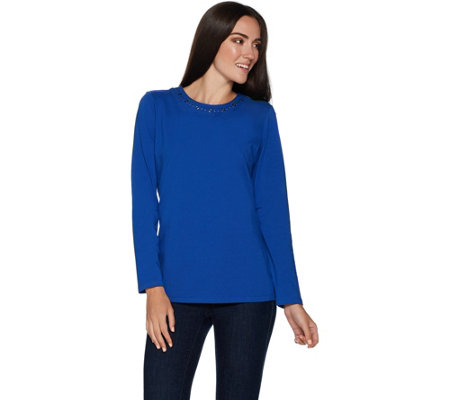 Denim & Co. Perfect Jersey Long Sleeve Round Neck Top w/ Grommets