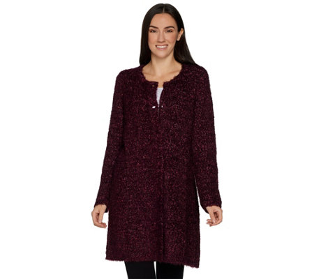Susan Graver Boucle Button Front Cardigan