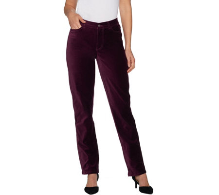 Isaac Mizrahi Live! Regular Velvet 5-Pocket Straight Leg Pants