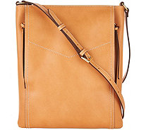 """As Is"" G.I.L.I. Leather Double Zip Flat Crossbody - A299497"