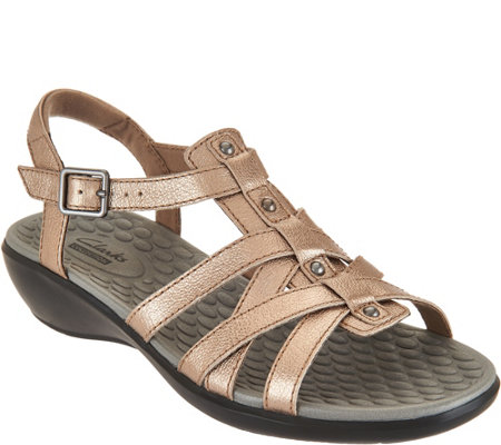 """As Is"" Clarks Leather Gladiator Sandals - Shelba Jacoby"