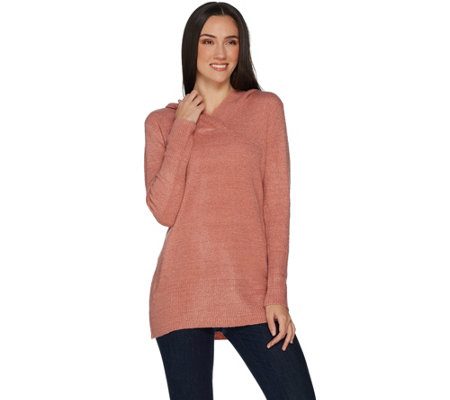 Denim & Co. Crossover V-Neckline Long Sleeve Tunic Sweater