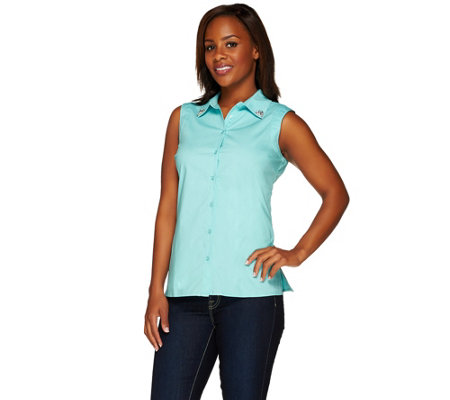 """As Is"" Dennis Basso Sleeveless Top w/Embellished Collar"