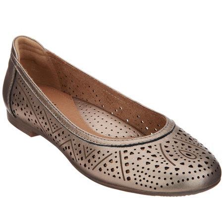 Earth Perforated Leather Slip-on Flats - Royale