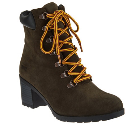 """As Is"" Cougar Waterproof Suede Lace-up Boots- Angie"