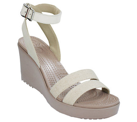 Crocs Linen and Leather Wedge Sandals - Leigh Wedge