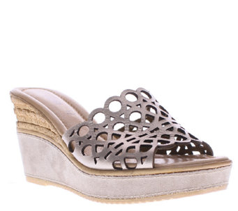 Azura by Spring Step Leather Wedge Slide Sandals - Polidor - A336397