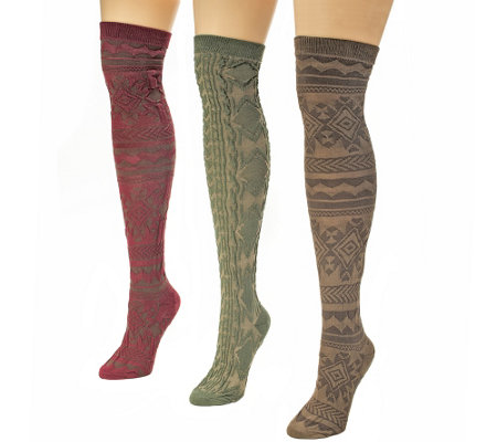 MUK LUKS Women's 3-Pr Over-the-Knee Pattern Microfiber Socks