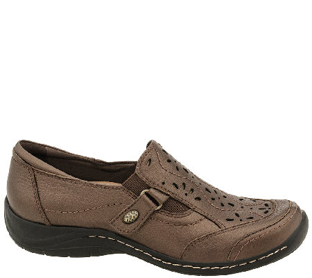 Earth Leather Perforated Slip-on Shoes - Ginseng