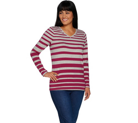 """As Is"" Denim & Co. Active Heather Grey Striped V-Neck Knit Top"