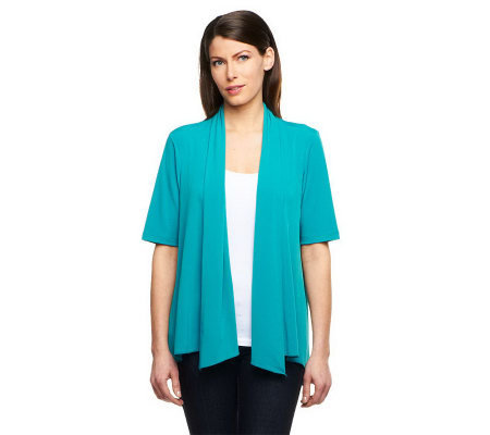 Susan Graver Liquid Knit Cascade Front Cardigan with Back Gathers
