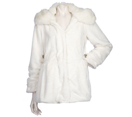 Dennis Basso Faux Fur Hooded Anorak Jacket