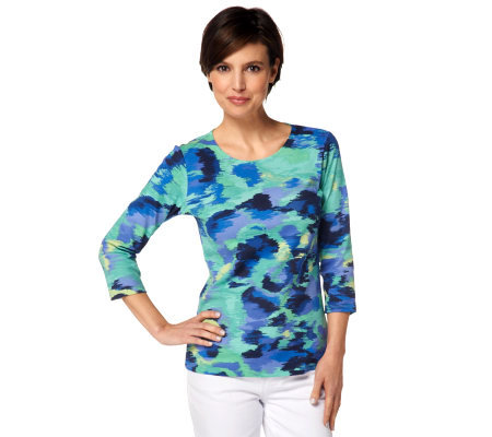 Liz Claiborne New York 3/4 Sleeve Watercolor Print T-Shirt