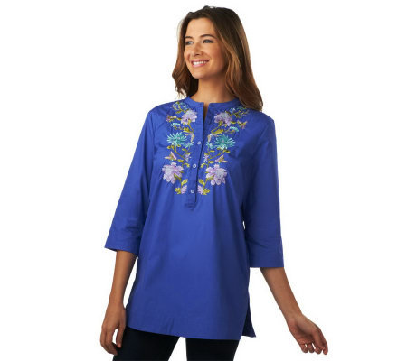 Isaac Mizrahi Live! Multi-colored Embroidered Tunic