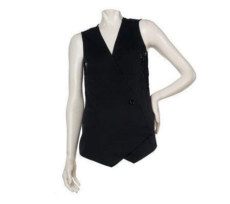Kris Jenner Kollection Vest with Lace Detail and Belt