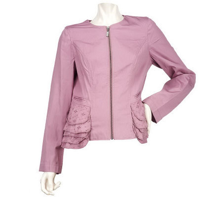 LOGO by Lori Goldstein Zip Front Jacket with Eyelet Ruffle