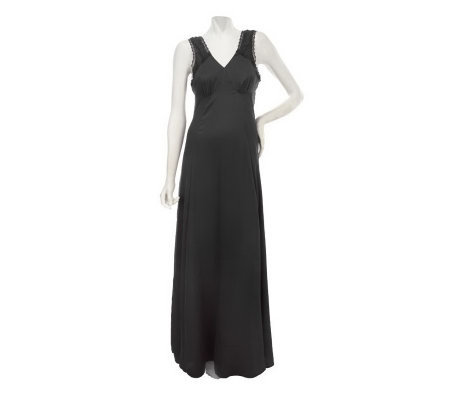 Nicole Richie Collection V-neck Maxi Dress with Lace Trim