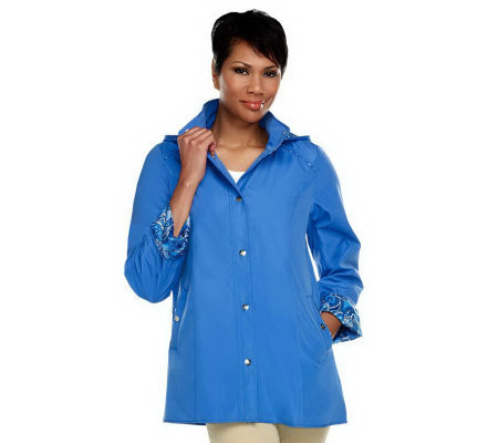 Dennis Basso Water Resistant Jacket with Paisley Trim & Removable Hood