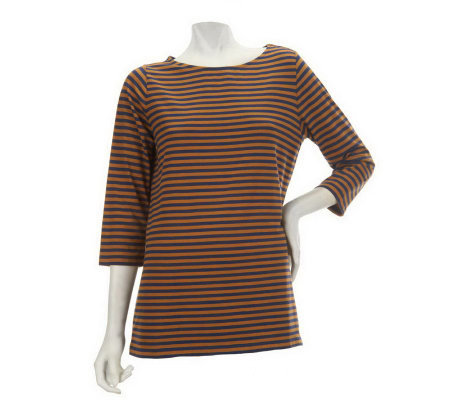 """As Is"" Denim & Co. 3/4 Sleeve Striped Bateau Top"