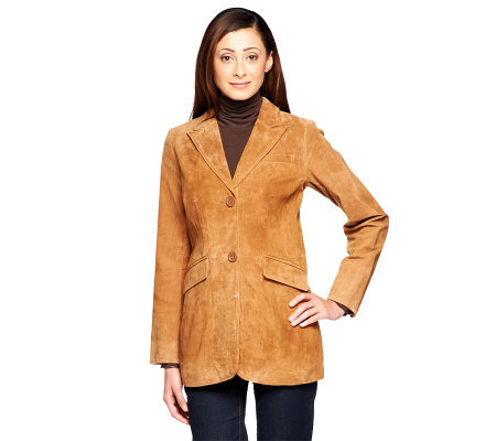 Dennis Basso Washable Suede Button Front Elongated Blazer