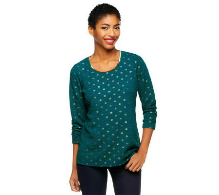 Susan Graver Crinkle Knit Tunic w/ 3/4 Ruched Sleeves and Foil Dots