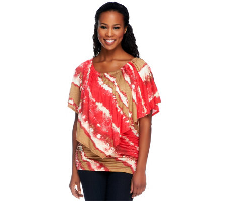 Lisa Rinna Collection Tie Dye Tunic with Flutter Poncho Sleeve