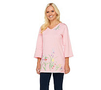 Quacker Factory Pen and Ink Floral Fantasy 3/4 Sleeve Tunic - A251798