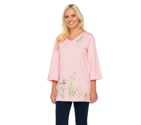 Quacker Factory Pen and Ink Floral Fantasy 3/4 Sleeve Tunic