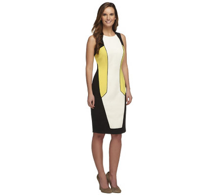 G.I.L.I. Petite Color-Block Knit Sheath Dress