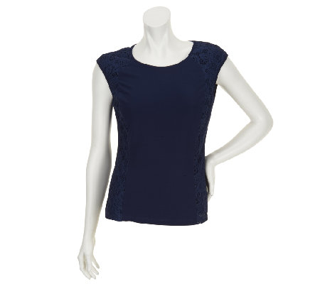 Status by Star Jones Knit Tank with Lace Side Panels