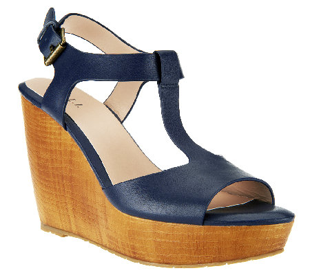 G.I.L.I. T-strap Leather Faux Wood Wedges - Michelle