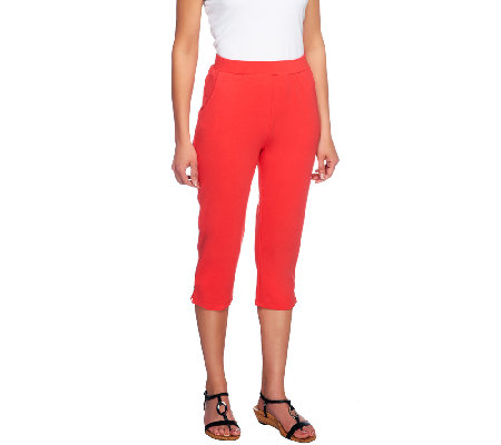 Denim & Co. Active Petite French Terry Slim Leg Capri Pants