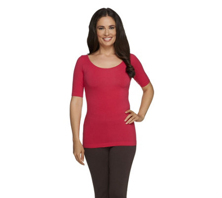 skinnytees Reversible Scoop Neck Top with Elbow Sleeves
