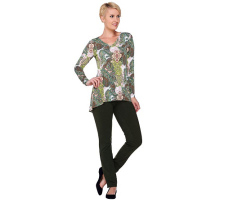 Women with Control Petite Printed Tunic & Slim Pants Set