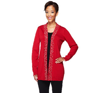 Quacker Factory Sparkle Animal Long Sleeve Open Cardigan - A256198