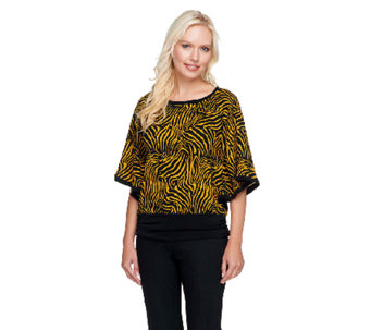 Susan Graver Printed Sweater Knit Dolman Sleeve Scarf Top - A257098