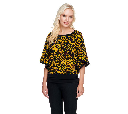 Susan Graver Printed Sweater Knit Dolman Sleeve Scarf Top