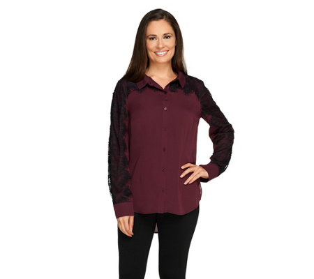 Isaac Mizrahi Live! Lace Applique Button Front Top