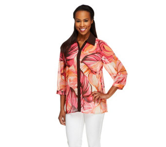 """As Is"" Susan Graver Printed Chiffon Button Front Blouse w/ Solid Trim - A261398"